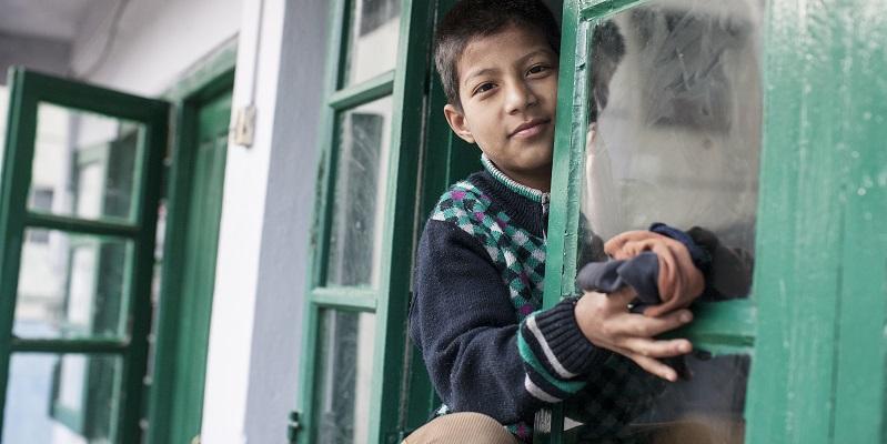 Barn på børnehjemmet Albella Boys Home i Indien