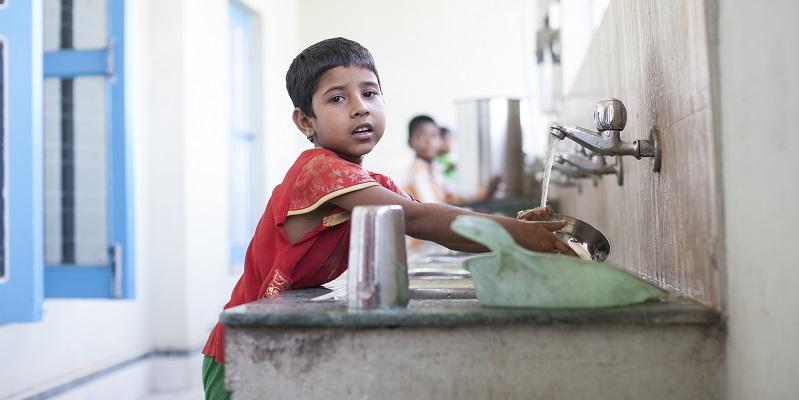 Børn på børnehjemmet i Durgapur i Indien