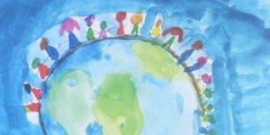 Solidaritet mellem verdens børn - fra tegnekonkurrence i forbindelse med Verdens Børns 40 års jubilæum i 2014.