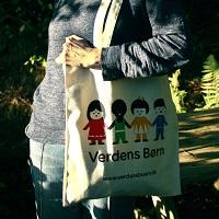 Mulepose med Verdens Børns logo
